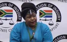 A screengrab of the head of department for procurement at South African Airways (SAA) Technica Nontsasa Memela appearing at the state capture inquiry on 7 February 2020.