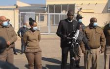 Justice Minister Ronald Lamola at a media briefing outside the Estcourt Correctional Service facility where former President Jacob Zuma is serving his 15-month sentence. Picture: YouTube screengrab/SABC.