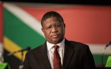 South African Sport and Recreation Minister Fikile Mbalula answers questions from the press during a briefing at the South African Sport Confederation and Olympic Committee on 28 May 2015 in Johannesburg. Picture: AFP.