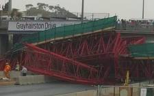 FILE: The scaffolding of a pedestrian bridge under construction in Sandton has collapsed. The bridge was being built parallel to Grayston Drive on the M1 on 14 October 2015. Picture: Arrive Alive