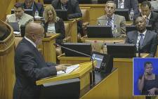 A screen grab of President Jacob Zuma addressing Parliament on 18 February 2016, during his reply to the State of the Nation debate.