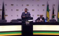 Minister of Energy David Mahlobo at the media briefing on 11 December 2017. Picture: Twitter/@MYANC