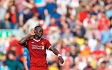 Sadio Mane celebrates after scoring a goal against Arsenal. Picture: @LFC/Twitter.