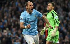 Manchester City defender Pablo Zabaleta wheels away in celebration after opening the scoring for his side against West Brom. Picture: Facebook.com