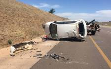 A woman, believed to be in her late twenties, and a baby, were killed in a collision on the N4 near the Doornpoort Plaza outside of Pretoria on 07 November, 2015. Picture: ER24.