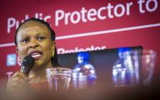 Public Protector Busisiwe Mkhwebane releases the report on investigations into financial corruption and planning for Nelson Mandela's funeral on 4 December 2017. Picture: Thomas Holder/EWN.