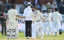India captain Virat Kohli shakes hands with England players after winning the second Test at Lord's on 16 August 2021. Picture: @BCCI/Twitter