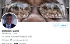 The fake Duduzane Zuma Twitter account. Picture: @Duduzane_Zuma/Twitter.