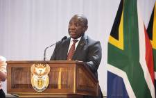 President Cyril Ramaphosa speaking at Dr Edna Molewa's funeral. Picture: Kayleen Morgan