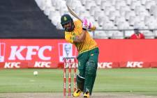 South Africa's Faf du Plessis plays a shot during the first T20 international cricket match between South Africa and England at Newlands stadium in Cape Town, South Africa, on November 27, 2020. Pictur: AFP