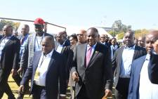 President Cyril Ramaphosa arrives in Polokwane to deliver the keynote Youth Day speech. Picture: Government ZA.