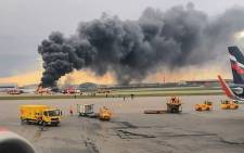 File: This handout picture shows a fire of a Russian-made Superjet-100 at Sheremetyevo airport outside Moscow. Picture: AFP.