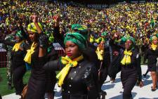 FILE: Members of the ANCWL dressed in black with doeks in support of the late Winnie Madikizela-Mandela. Picture: Twitter @MYANC