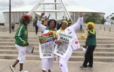 Bafana Bafana fans celebrate ahead of their team's 2-1 victory over Sudan at the Moses Mabhida Stadium in Durban, Saturday 15 November 2015. Picture: Vumani Mkhize/EWN.