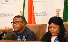 Transport Minister Fikile Mbalula (L) on 23 January 2020 briefed the media on the 2019/2020 festive season road safety report in Pretoria. Picture: @GovernmentZA/Twitter