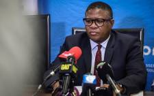 FILE: Transport Minister Fikile Mbalula addresses the media during a briefing on the Eerste Fabrieke train station collision. Picture: Abigail Javier/EWN