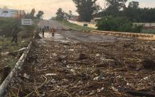 Debris on the R55 in Kyalami following floods in parts of Johannesburg, Ekurhuleni and  Tshwane.  Picture: Twitter @EWNTraffic