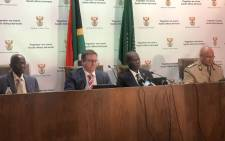 Justice Minister Ronald Lamola is seen among other officials on 16 December 2019. Picture: EWN