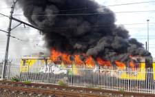 FILE: Train on fire at Retreat Station‏ in Cape Town on 07 August, 2016. Picture: Twitter @CRW2310.