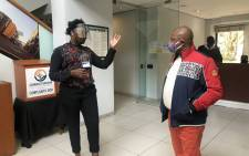 City of Joburg Finance MMC Jolidee Matongo (right) visits the Sandton customer service centre on 19 May 2020. Picture: @MatongoMmc/Twitter