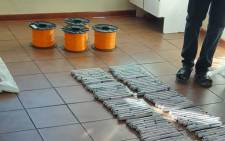 Some of the explosives seized from a smuggler by police at the Beitbridge border post. Picture: @SAPoliceService/Twitter