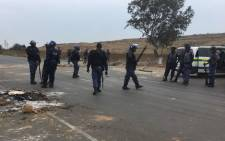 Police on patrol following protests on the N12 highway. Picture: EWN