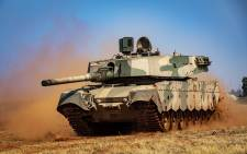 An SANDF Olifant Mk 2 Battle Tank on manoeuvrability display at the African Aersospace and Defence exhibit at Waterkloof Airbase. Picture: Thomas Holder/EWN