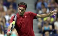 Roger Federer of Switzerland returns the ball during his men's singles first round match against Yoshihito Nishioka of Japan on Day Two of the 2018 US Open at the USTA Billie Jean King National Tennis Centre on August 28, 2018 in the Flushing neighbourhood of the Queens borough of New York City. Picture: AFP.