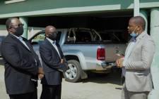 Left to right: eMadlangeni Local Municipality Administrator Velaphi Kubheka, KZN Cogta HOD Tando Tubane and KZN Cogta MEC Sipho Hlomuka.  Picture: Nkosikhona Duma/EWN