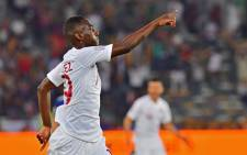 Qatar's forward Almoez Ali celebrates after scoring his team's first goal during the 2019 AFC Asian Cup final football match between Japan and Qatar at the Mohammed Bin Zayed Stadium in Abu Dhabi on 1 February 2019. Picture: AFP.