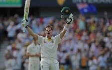 Australia's Steve Smith celebrates scoring a century. Picture: @btsportcricket/Twitter