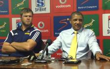 Stormers coach Allister Coetzee and captain Duane Vermeulen after their Super Rugby loss to the Waratahs at Newlands on Saturday 5 April 2014. Picture: Alicia Pillay/EWN Sport