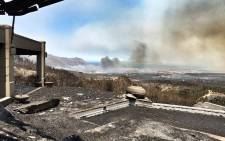 A view from the Bizweni Lodge after a fire broke out in the area. Picture: Jaco Kruger/Facebook.com