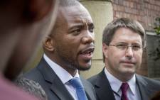DA leader Mmusi Maimane laid charges against the Gupta brothers and Duduzane Zuma at a Cape Town police station on 17 March 2016.