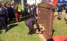 President Jacob Zuma laying wreaths at the grave site of the late Chris Hani after he declare it a heritage site on 10 April 2015. Picture: ANC Info Feed @MyANC_.