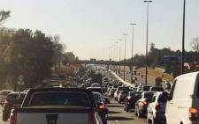 FILE: Traffic along the N1 as motorists make their way to the Mall of Africa on opening day, 28 April 2016. Picture: via Twitter.