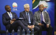 Mmusi Maimane (left), Alan Winde (centre) and Dan Plato (right) at the DA press briefing on its candidate for the Western Cape premier on 19 September 2018. Picture: Cindy Archillies/EWN