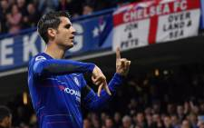 Chelsea's Spanish striker Alvaro Morata celebrates after scoring the opening goal of the English Premier League football match between Chelsea and Crystal Palace at Stamford Bridge in London on 4 November, 2018. Picture: AFP.