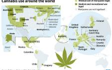 Map showing where Cannabis is authorised for medical use and/or recreational use, focussing on the United States and Europe.