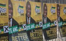 Posters at the launch of the ANC elections manifesto at Church Square in Pretoria on 27 September 2021. Picture: Abigail Javier/Eyewitness News