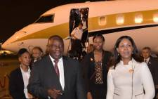 Deputy President Cyril Ramaphosa arrived at Tokyo International Airport in Tokyo, Japan in a jet owned by the Gupta family. Picture: GCIS.