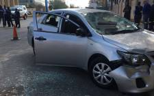 Scenes from West Street Sandton where an Uber car was stoned by meter taxi drivers. Picture: Florence Letoaba/EWN.