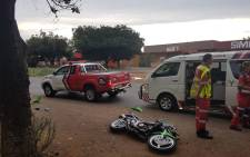 ER24 paramedics pictured on scene where a biker, aged 22, died following an accident in  Vanderbijlpark on 9 December 2018. Picture: @ER24EMS/Twitter