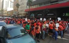 Dozens of eThekwini municipal workers in KZN have arrived at the office of mayor Zandile Gumede, demanding she makes good on her promise to increase salaries on 16 May 2019. Picture: Nkosikhona Duma/EWN