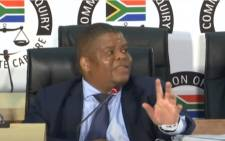 Former State Security Minister David Mahlobo testifying at the state capture commission on 19 May 2021. Picture: SABC Digital News/YouTube screengrab.