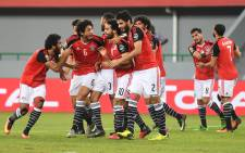Egyptian players celebrate a goal in their 2017 Africa Cup of Nations match against Ghana. Picture: AFP