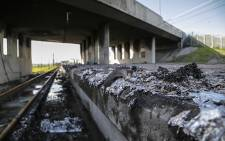 Remnants of the train that was burnt at the Chris Hani station in Khayelitsha August 21, 2014. Picture: Thomas Holder/EWN
