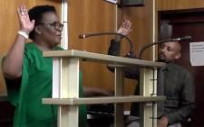 Amathole District Municipality Mayor Nomasikizi Khonza in court. Picture: Screengrab.