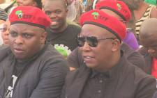 Economic Freedom Fighters members, Julius Malema and Floyd Shivambu at one year anniversary at Lonmin's Marikana mine where 34 striking platinum workers were shot dead by police on 16 August 2012. Picture: Christa Van der Walt/EWN
