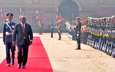 President Cyril Ramaphosa inspects the guard on the occasion of the State Visit to the Republic of India. Picture: GCIS.